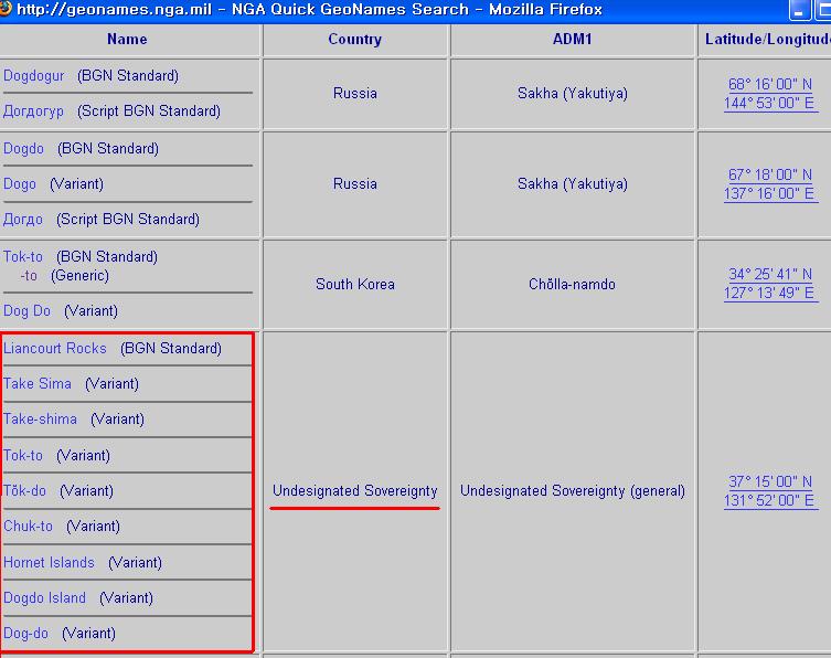 미국 NGA GeoNet 텍스트 독도 검색 결과 화면